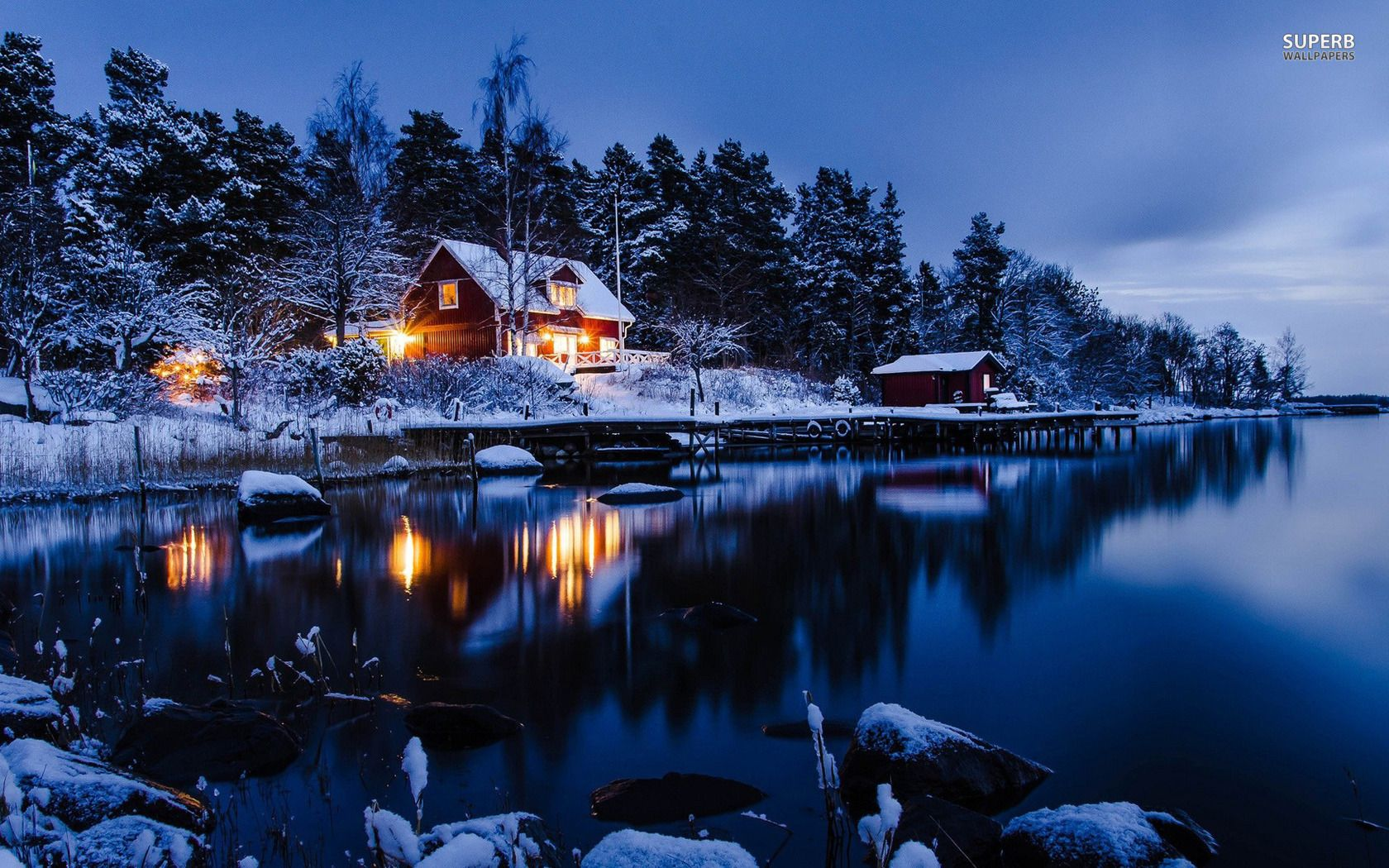 Winter Log Cabin Lakeside winter cabin wallpaper 1680x1050 1680x1050