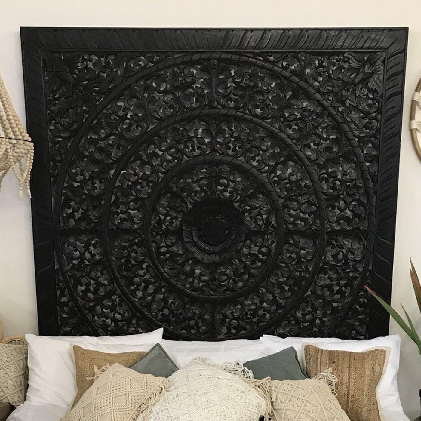 Black Vine Mandela Carved Bedhead King Size Paradise Living Co 1400x1400