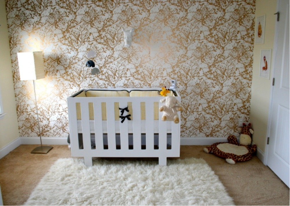 Free Baby Room Wallpaper Metallic Nursery