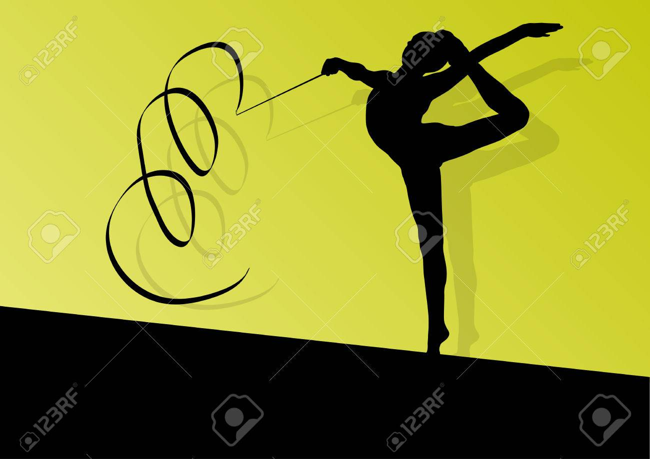 Active Young Girl Calisthenics Sport Gymnast Silhouette In 1300x919