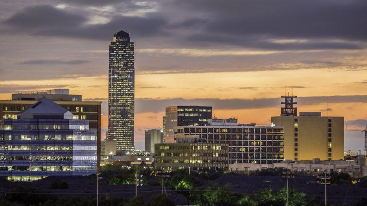 Houston architecture bridges cities City texas Night towers buildings 736x414