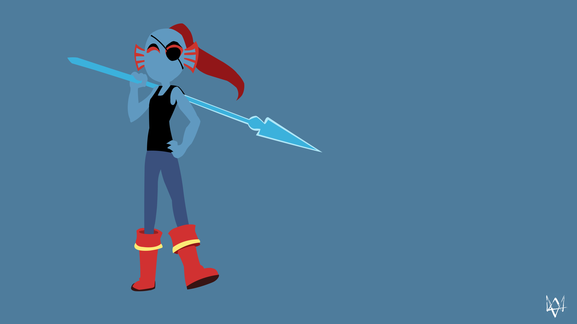 Undyne Undertale Minimalist Game Wallpaper by Lucifer012 on 1920x1080