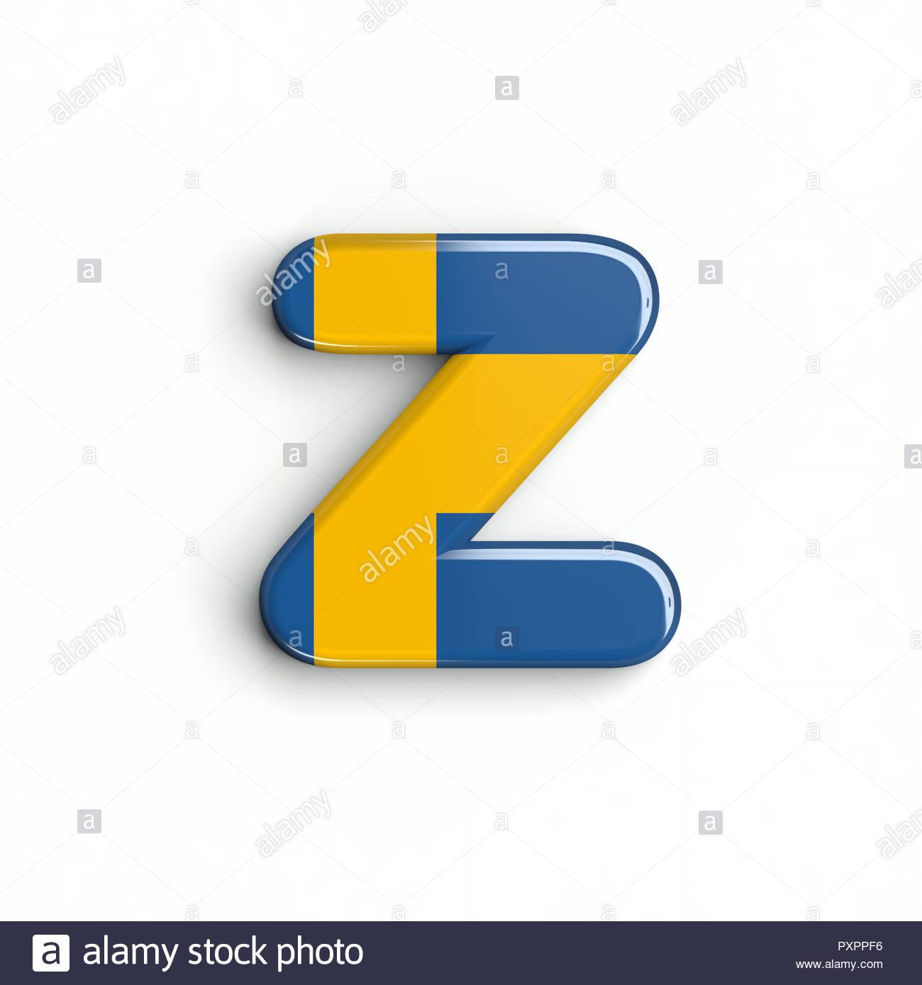 Sweden flag letter Z   Lower case 3d swedish font isolated on 1300x1390