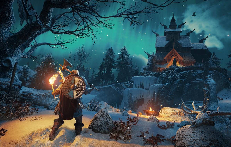 Wallpaper winter torch Assassins Creed Viking Ubisoft 1332x850