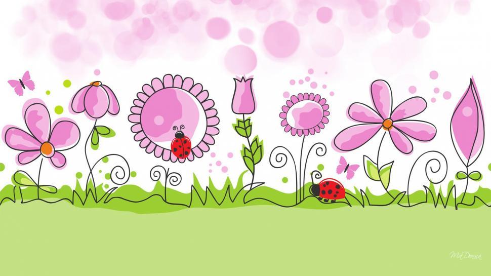 Flower Garden Spring Vector Desktop Background wallpaper 970x545