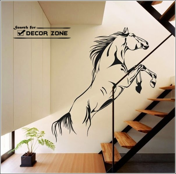 creative staircase wall decor ideas with paint and wallpaper 605x598
