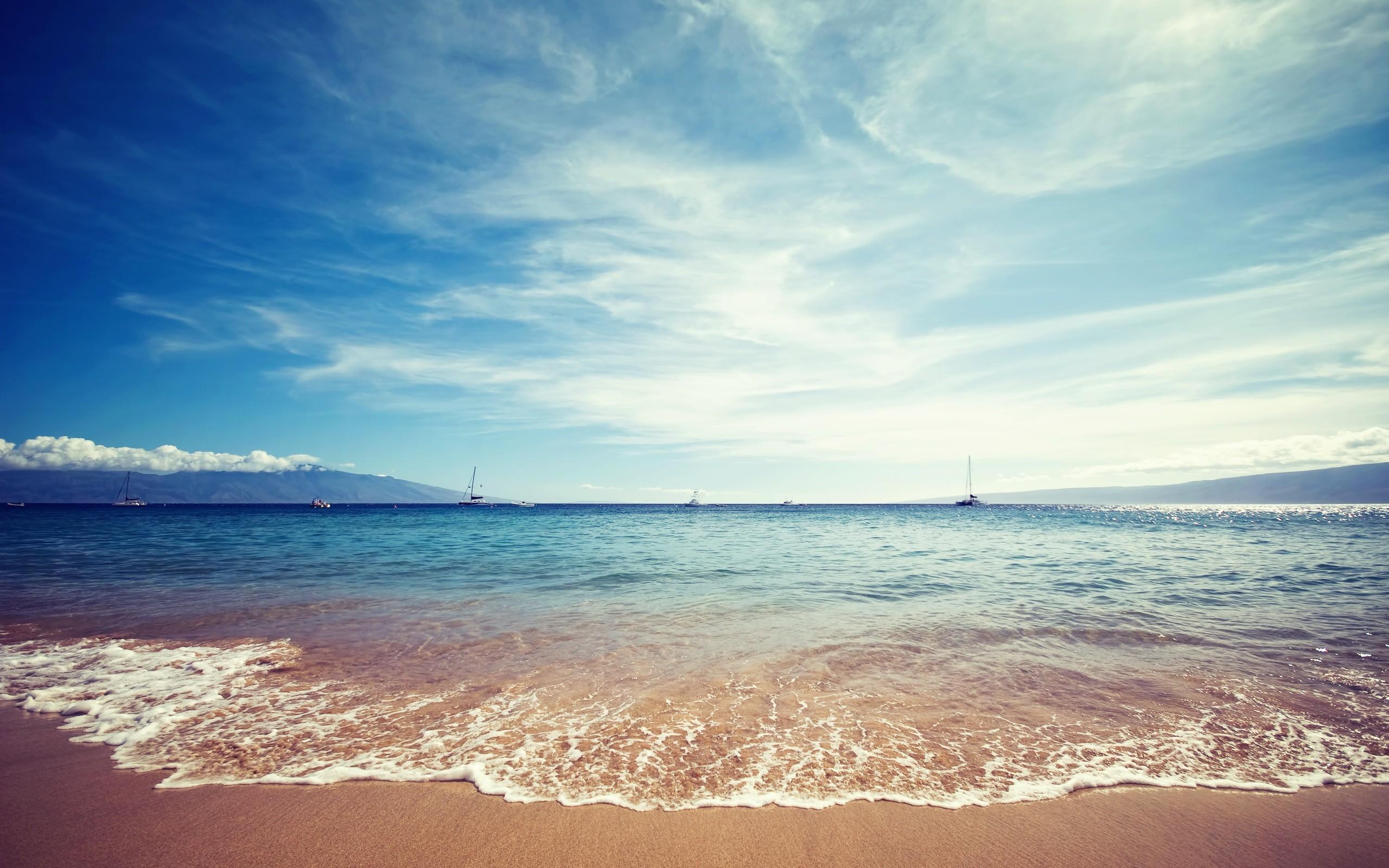 Ocean beach boats seascapes wallpaper 2560x1600 11534 2560x1600