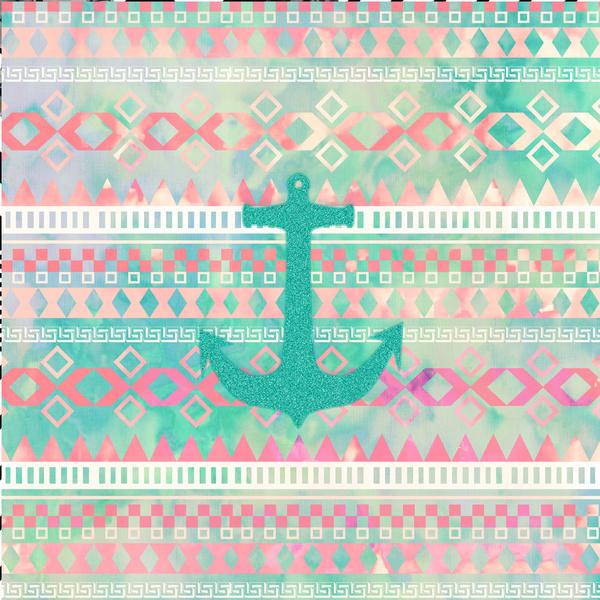 Sailing Aztec Emerald Nautical Anchor Pastel Watercolor Aztec Art 600x600
