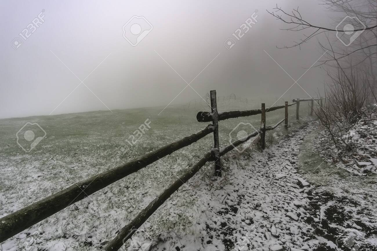 Winter Footpath Around Wooden Corral With Fog On Background Stock 1300x866