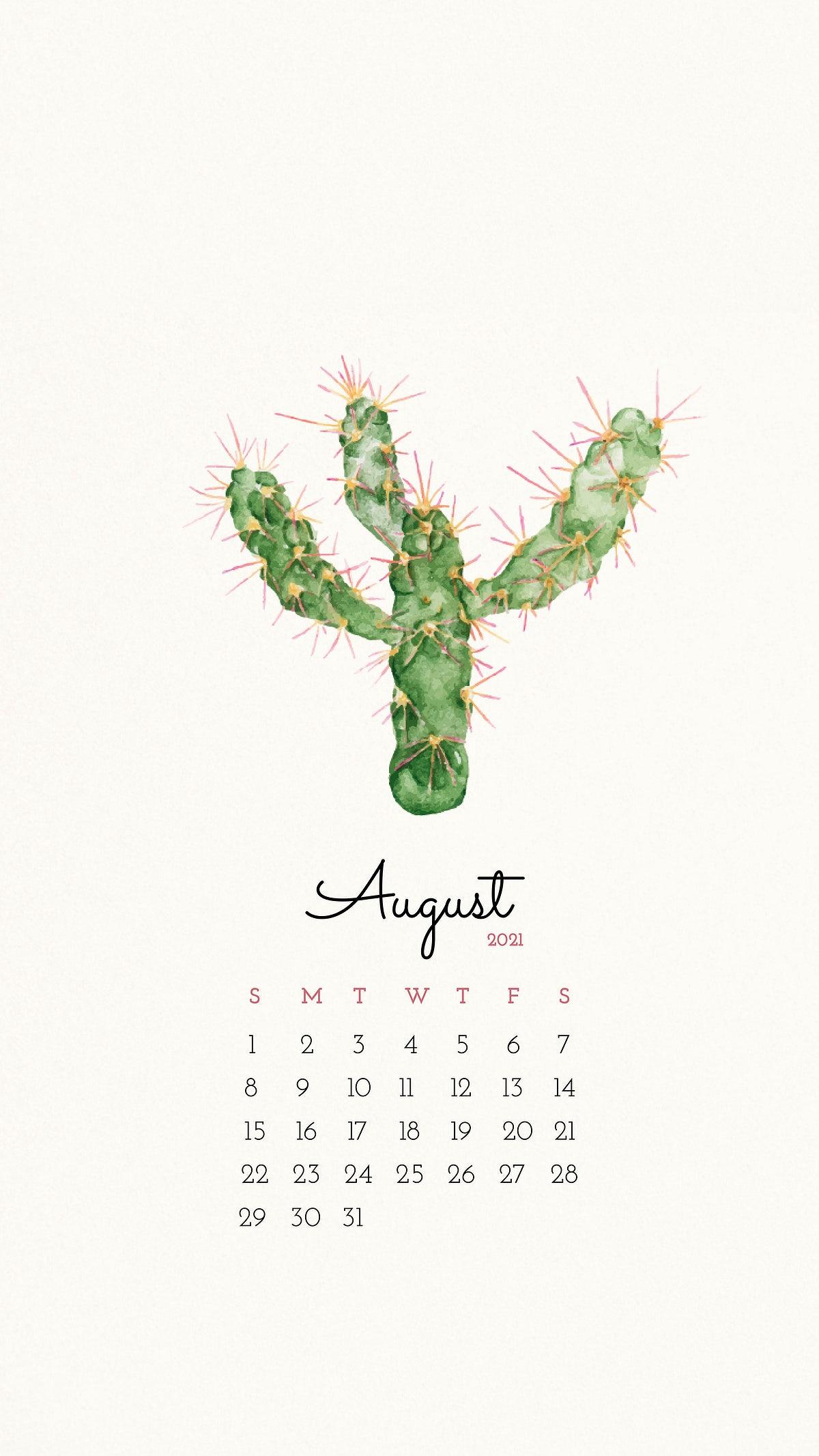 Calendar 2021 August printable with cute hand stock 1200x2133