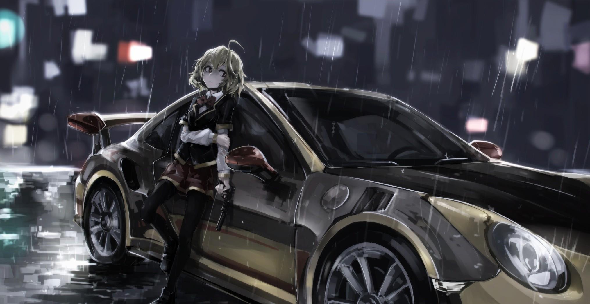 anime Anime Girls Car Porsche Hashiri Nio Akuma No Riddle 2030x1048