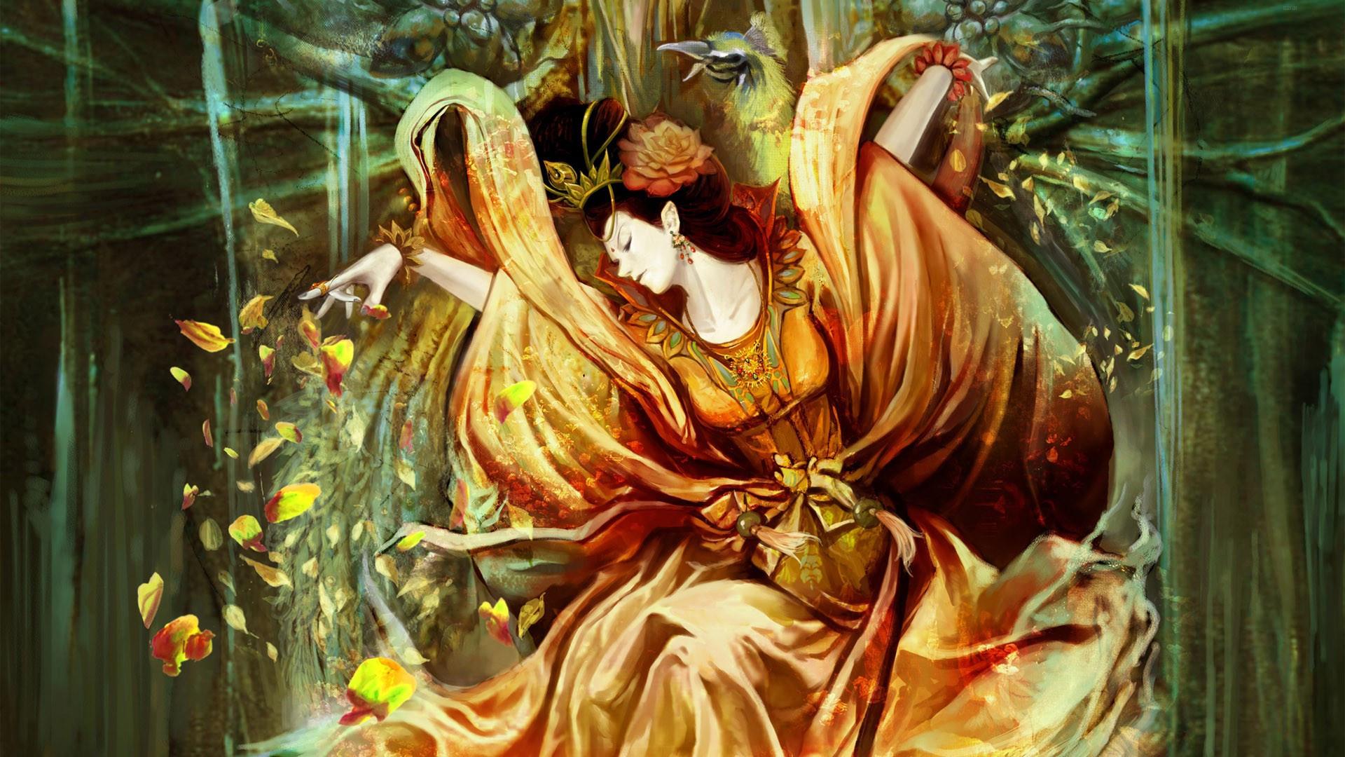 Geisha with rose petals wallpaper 3208 1920x1080