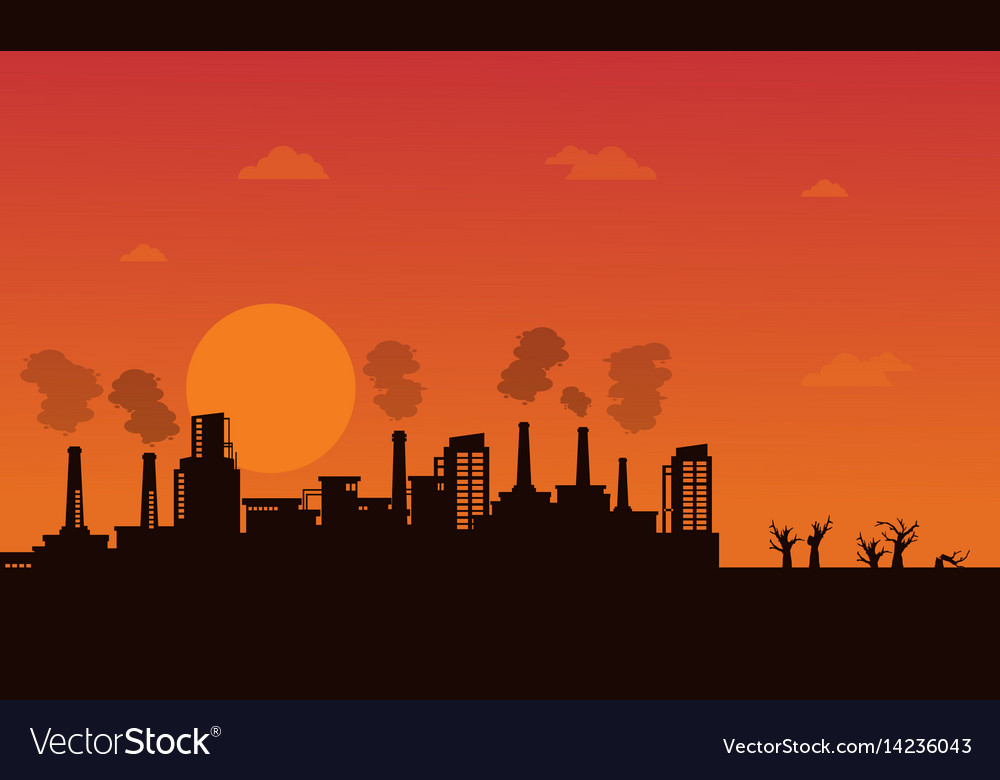 Industry wih pollution on orange background Vector Image 1000x780