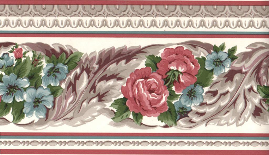 Burgundy Blue Scroll Leaf Flower Floral Rose Wall paper Border 1024x593