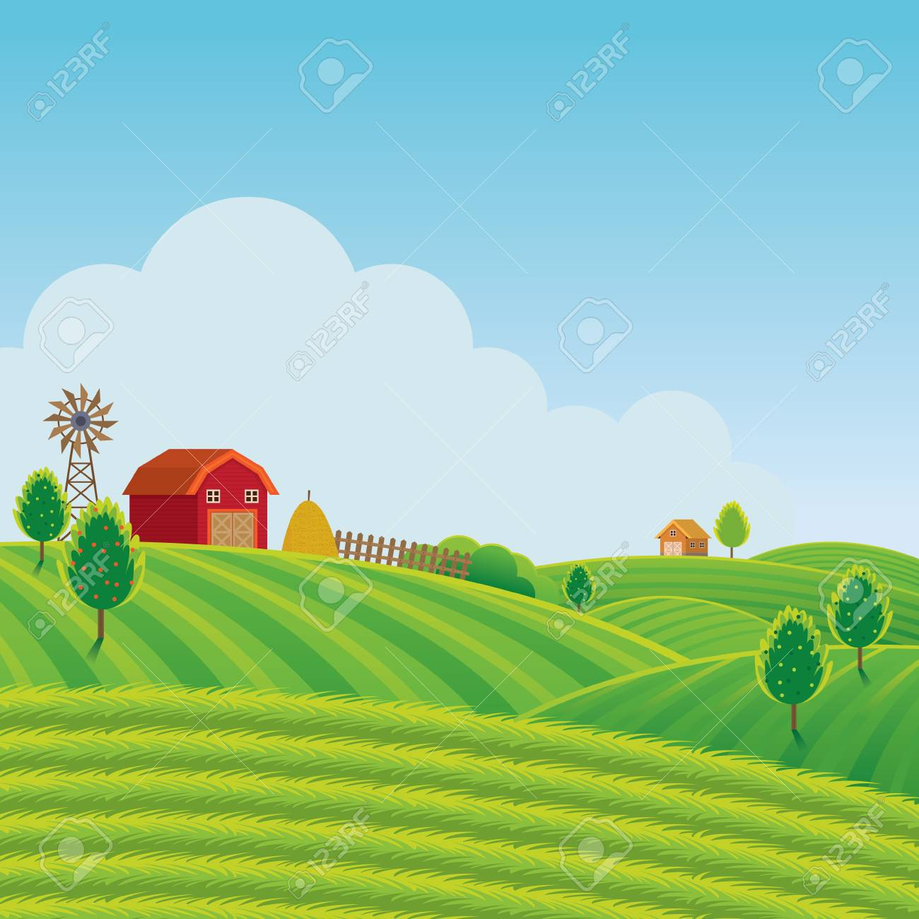 Farm On Hill With Green Field Background Agriculture Cultivate 1300x1300
