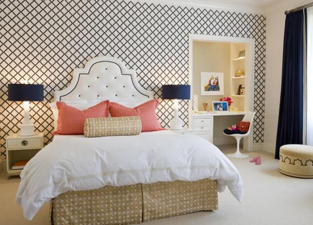 15 Captivating Bedrooms with Geometric Wallpaper Ideas Rilane   We 1025x739
