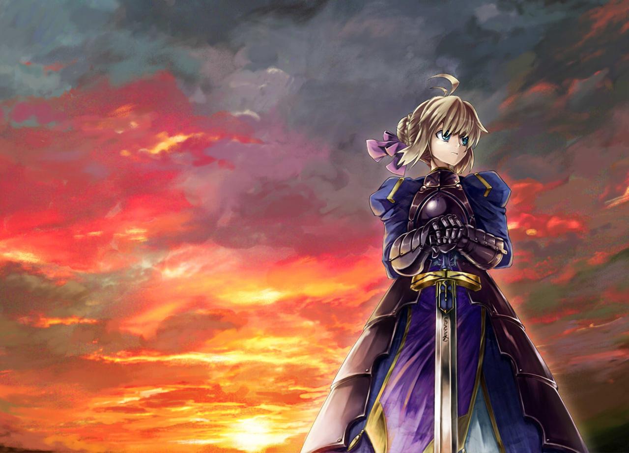 Night Saber Anime Girl Sword Armor HD Wallpaper Desktop Background 1280x922