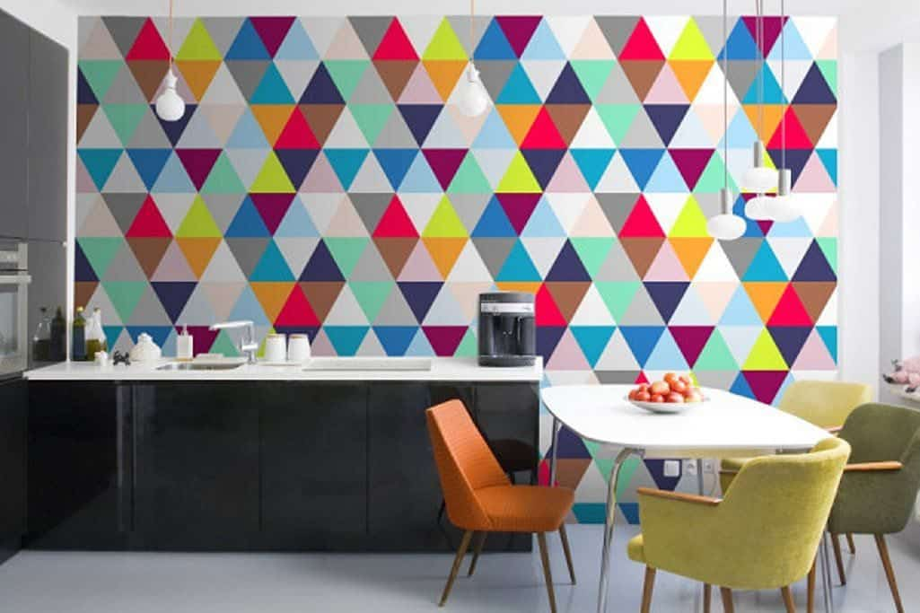 Modern Kitchen Remodeled With Colorful Kitchen Wallpaper 1025x683