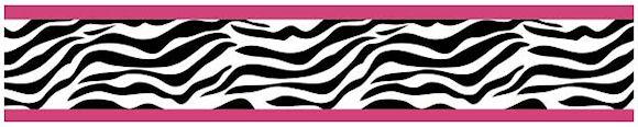Zebra Print Wallpaper Border Pink Black White for Girls 580x116