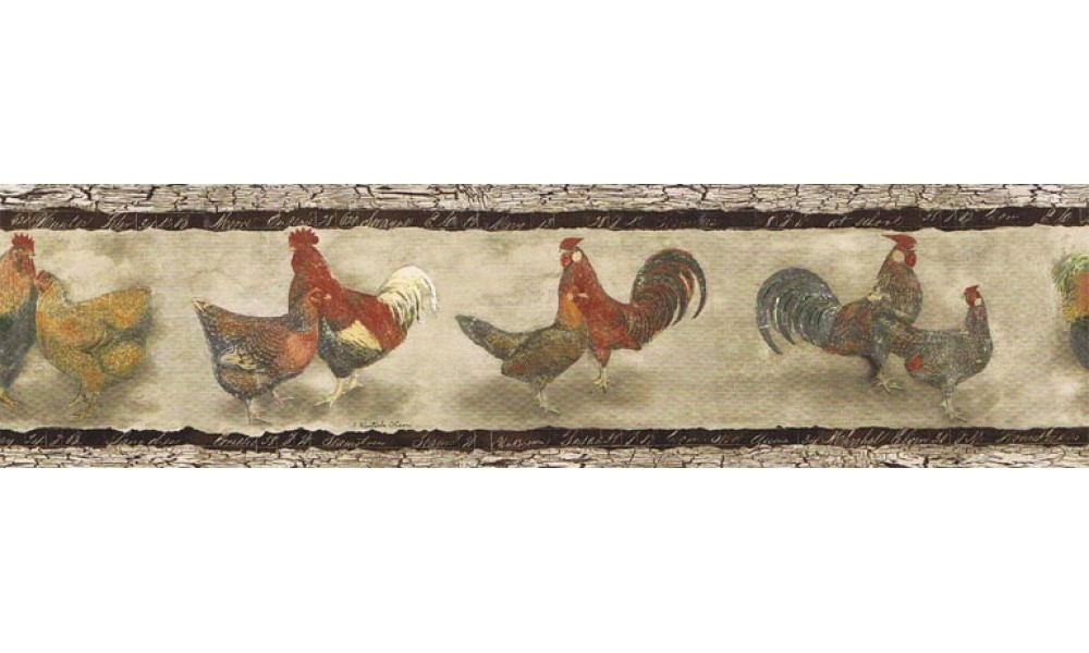 Home Animal Borders Roosters Wallpaper Border B76455 1000x600