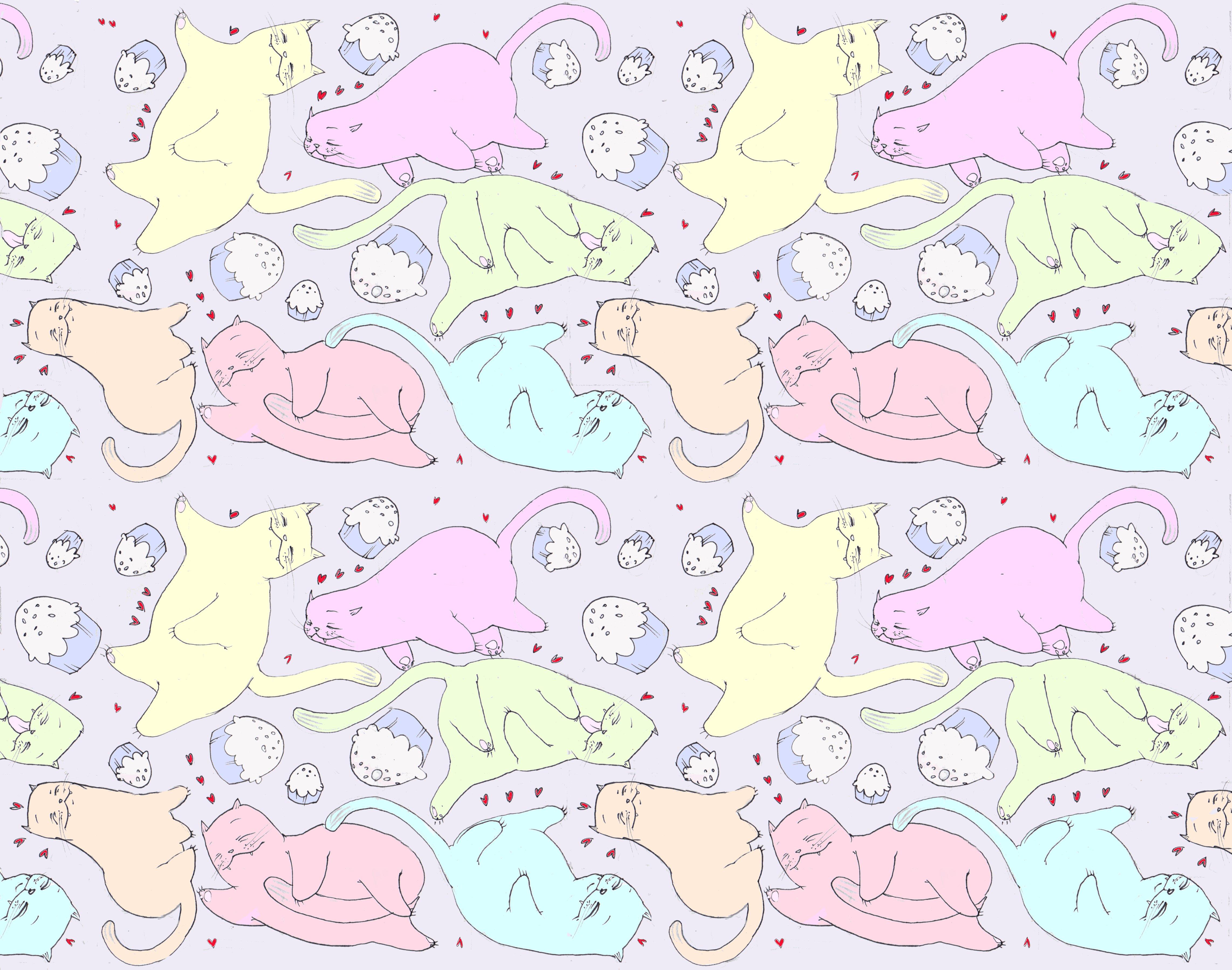 Cute Cat Pattern Backgrounds A cat pattern 4569x3596