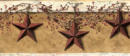 Barn Star and Pip Berry Wallpaper Border PatternCHI HK4663BDB 525x227