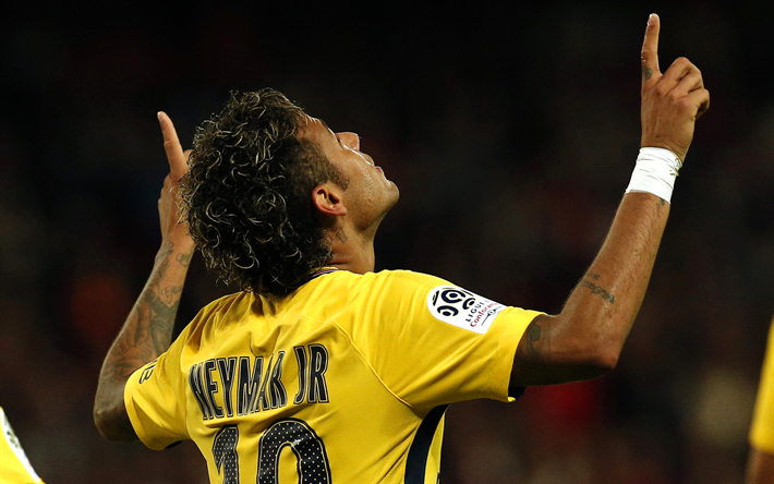 Download wallpapers 4k Neymar goal PSG soccer 710x444