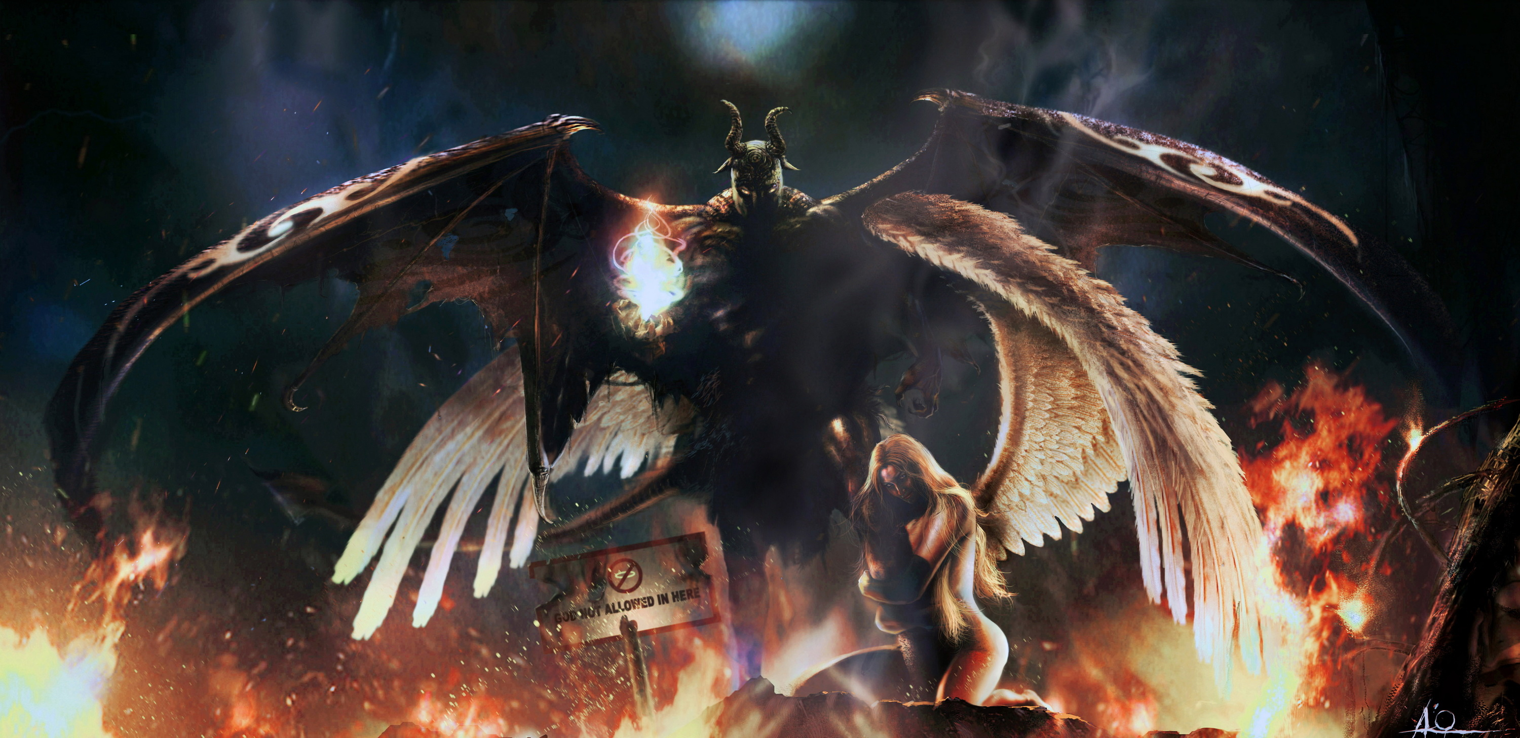 Wallpaper Fallen angel angel demon devil desktop 3000x1457