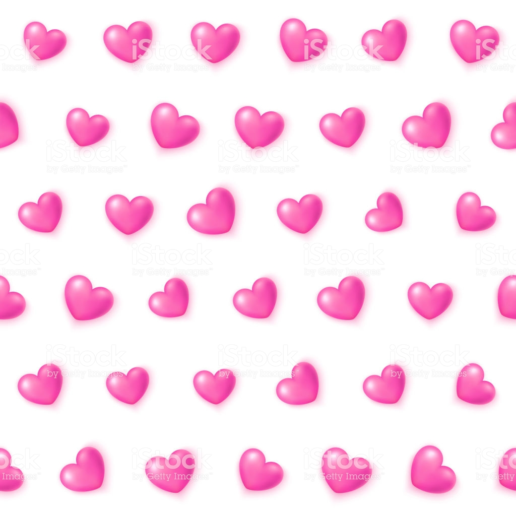 Cute Pink Hearts Seamless Pattern Valentines Day Texture For 1024x1024