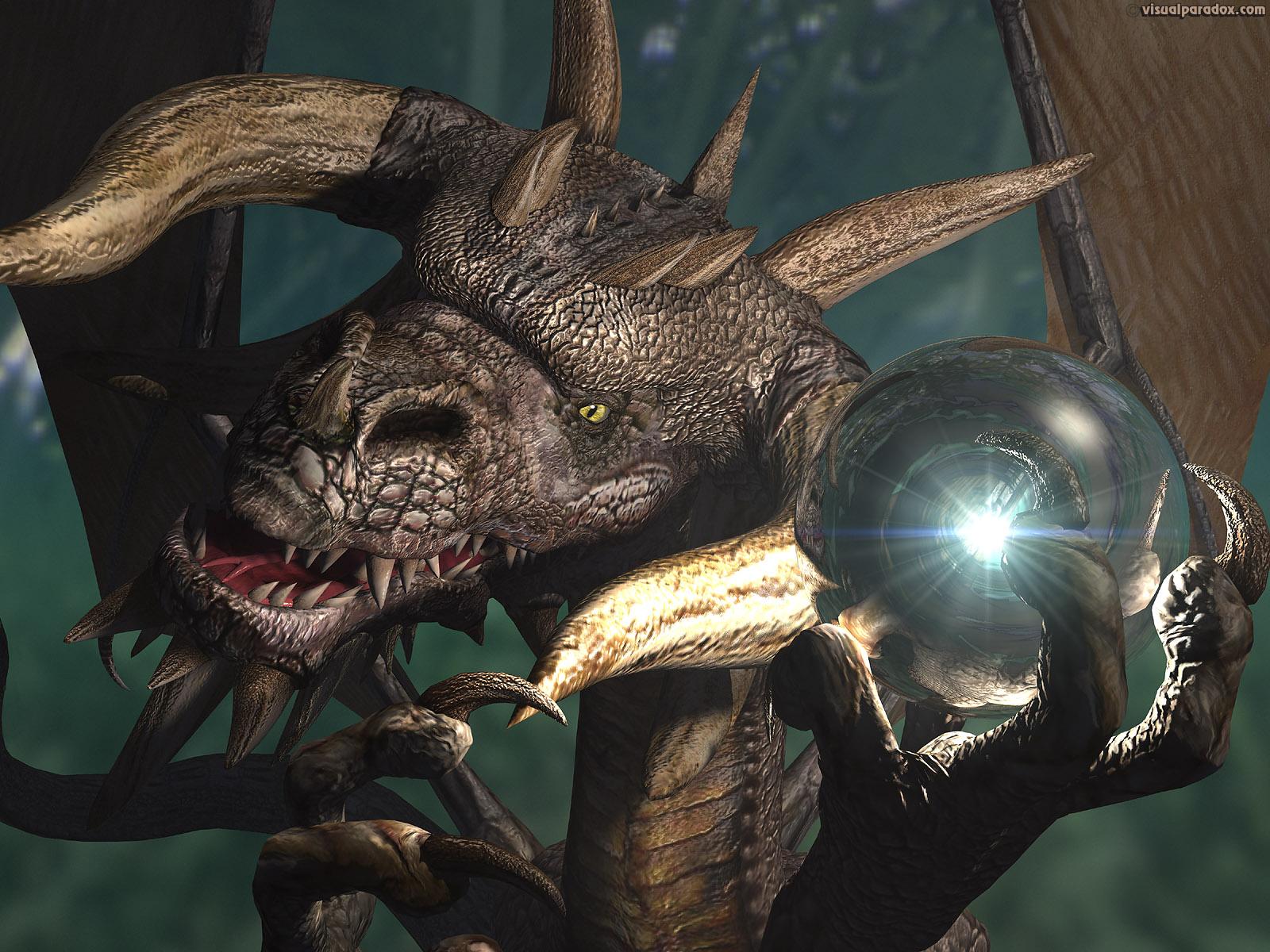 dragon treasure horns horned orb sphere ball 3d wallpaper 1600x1200
