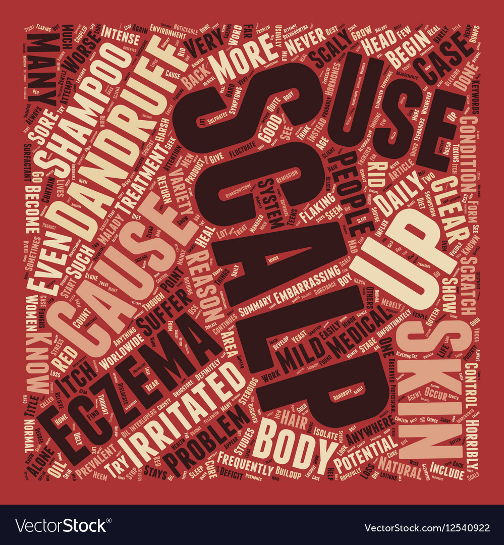 Scalp Eczema 3 text background wordcloud concept Vector Image 999x1080