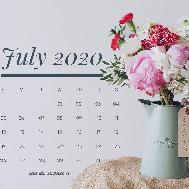 July 2020 Floral Calendar Printable in 2019 Print calendar 800x800