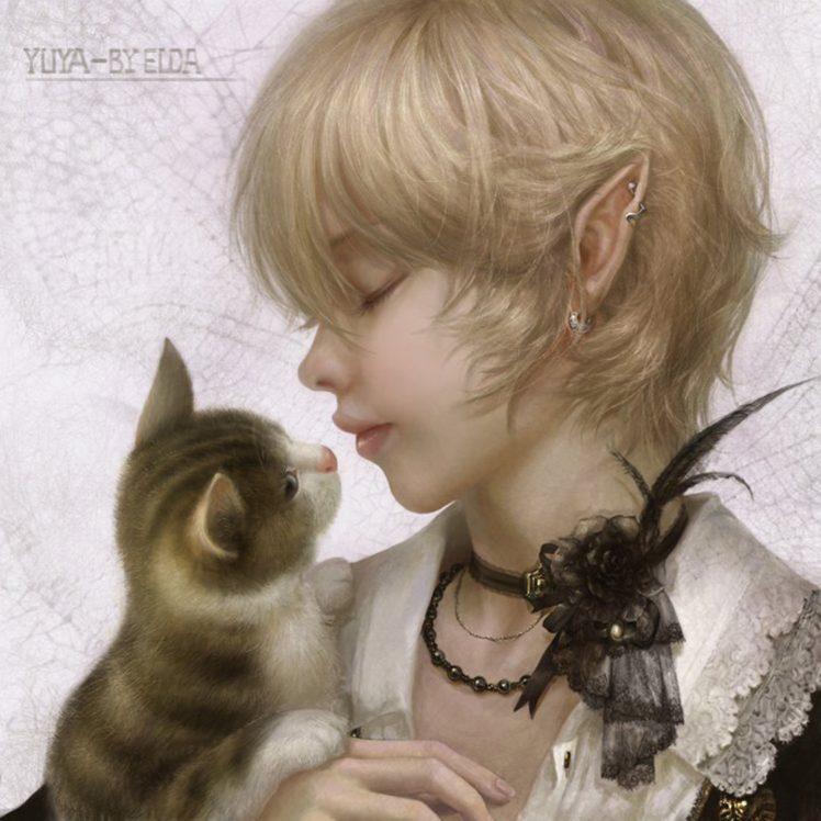 fantasy Girl Beautiful Fairy Blonde Cute Short Hair Cat 748x748