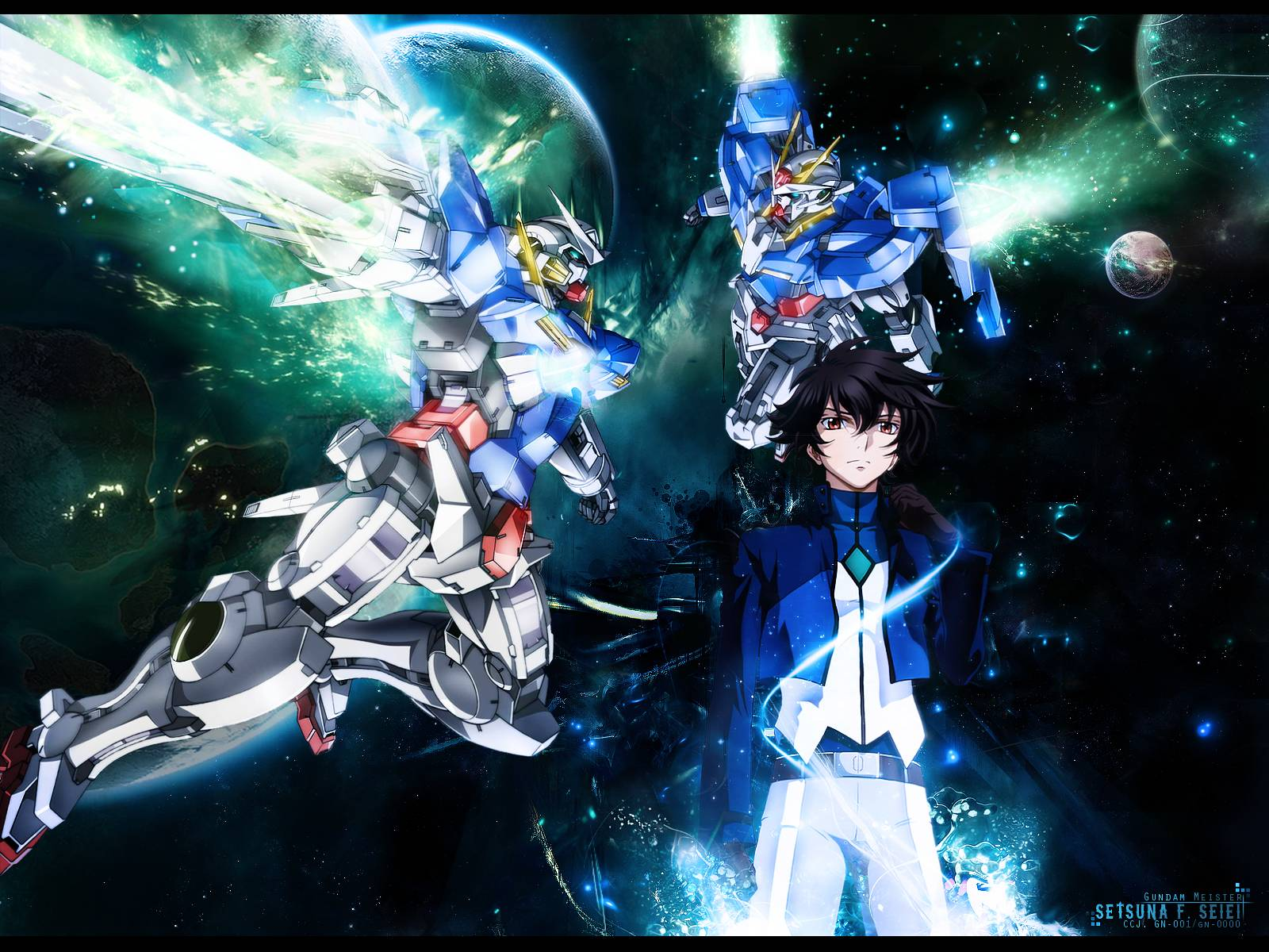 gundams and setsuna   Gundam 00 Wallpaper 1600x1200