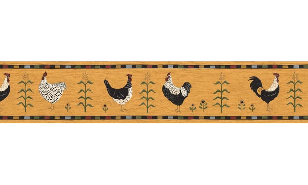 Home Roosters Wallpaper Border B75689 1000x600