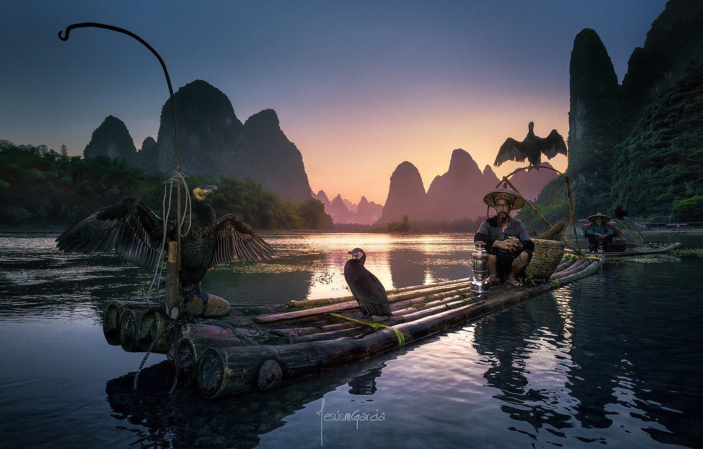 Wallpaper birds river people boat boats China fishermen the 1332x850
