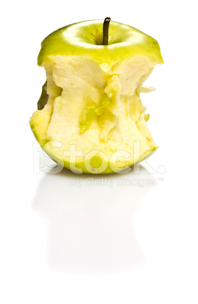 Apple Stub Isolated on White Background Stock Photos   FreeImagescom 669x1024