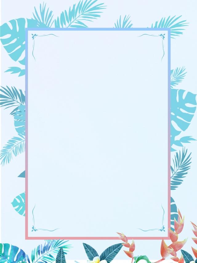 Blue Leaves Border Invitation Background Design Blue Background 640x854