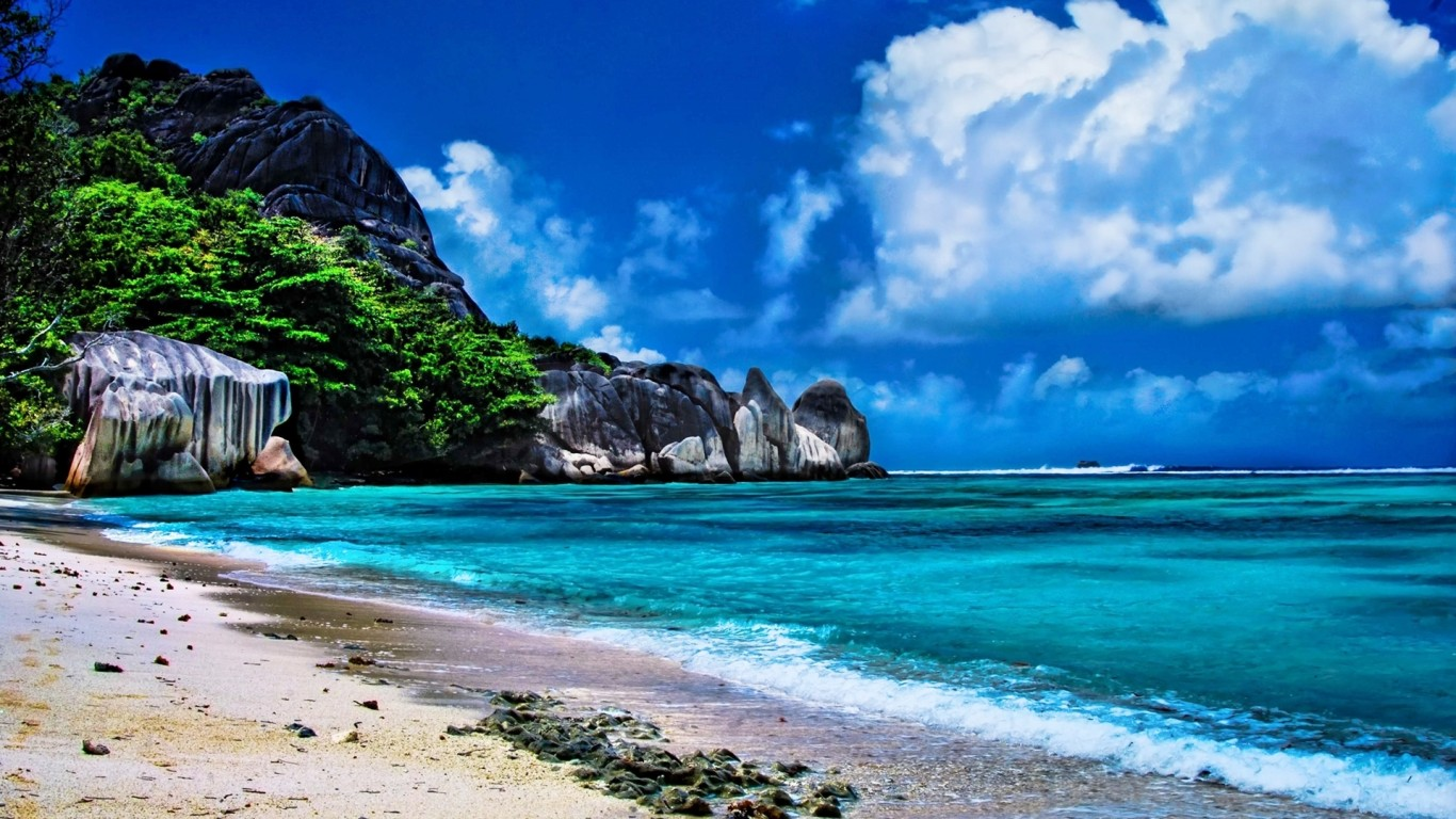 Anse Beach La Digue Isl Hd Desktop Background 1366x768