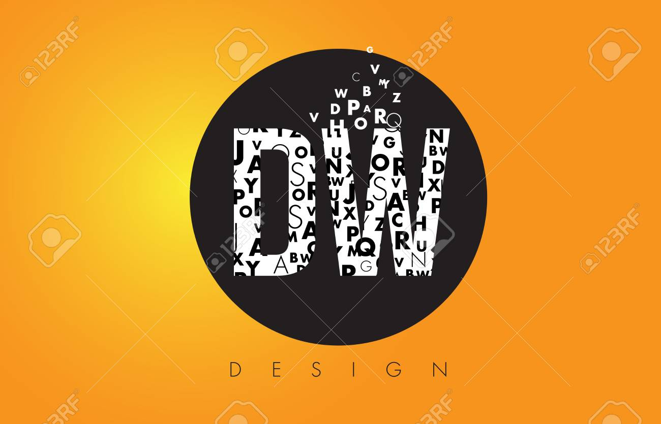 DW D W Logo Design Made Of Small Letters With Black Circle And 1300x835