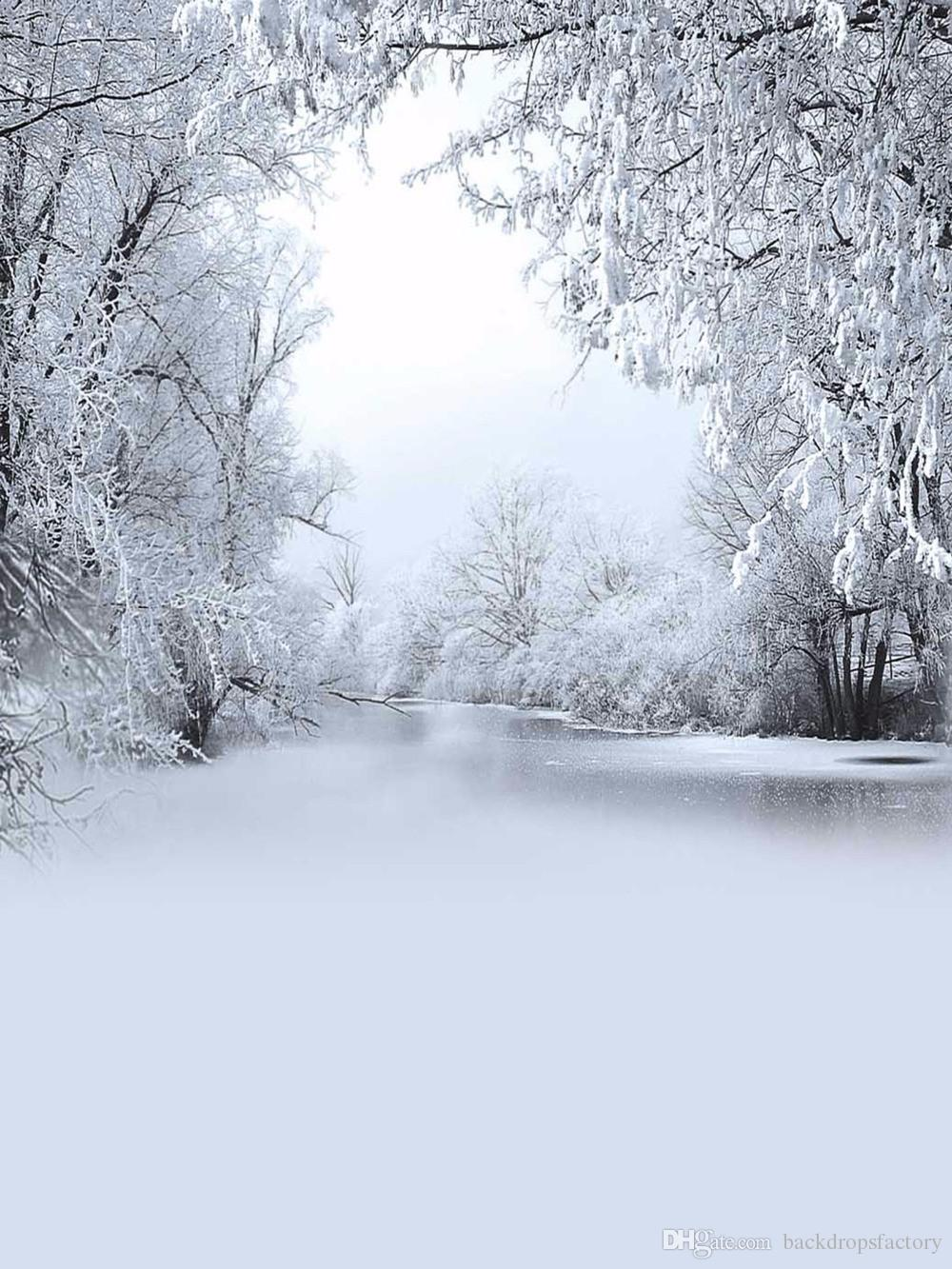 Snow Covered Trees Frozen River Photography Backdrop Vinyl Winter 1000x1333