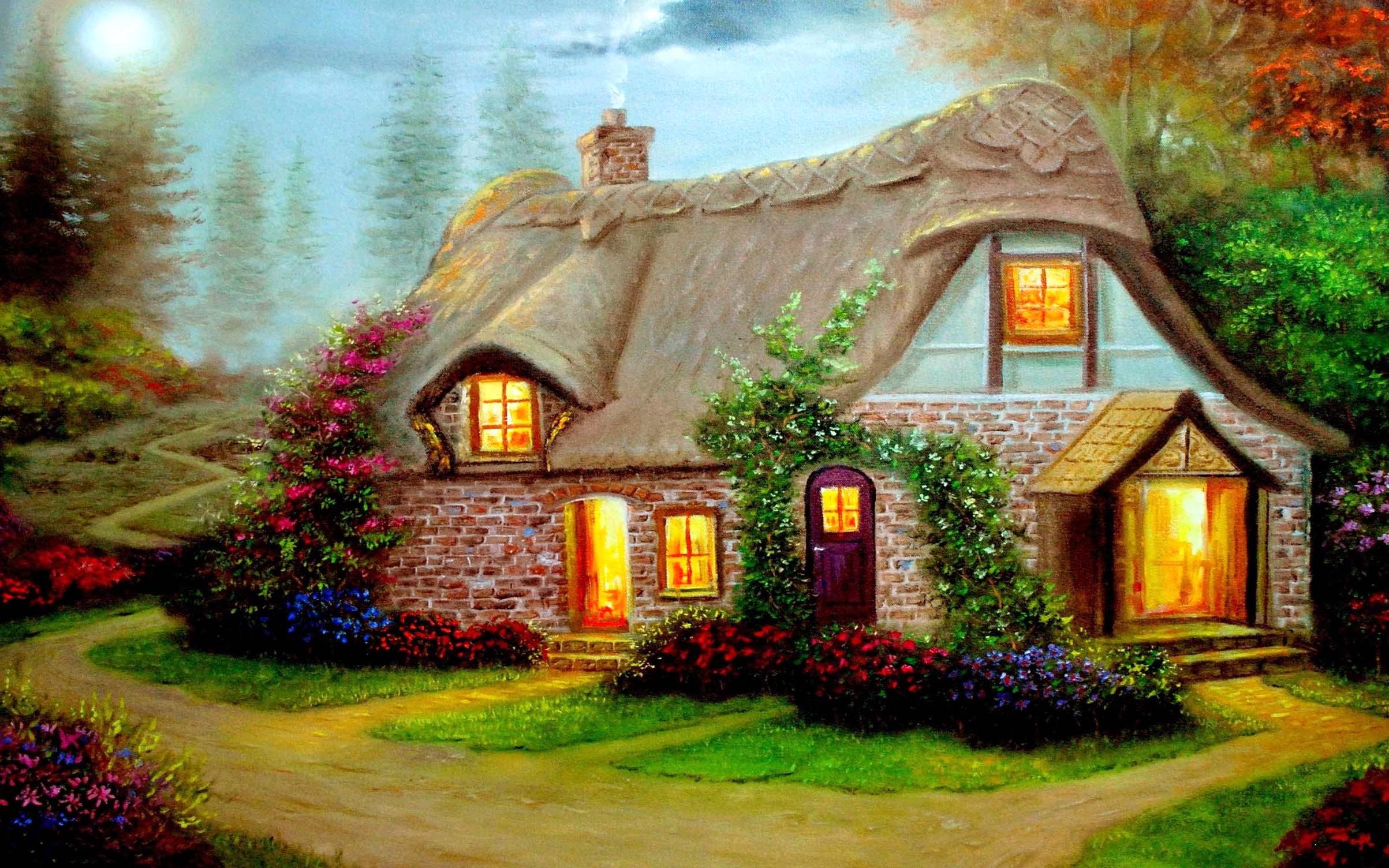 Beautiful Cottage High Definition Widescreen Wallpaper 2406x1504