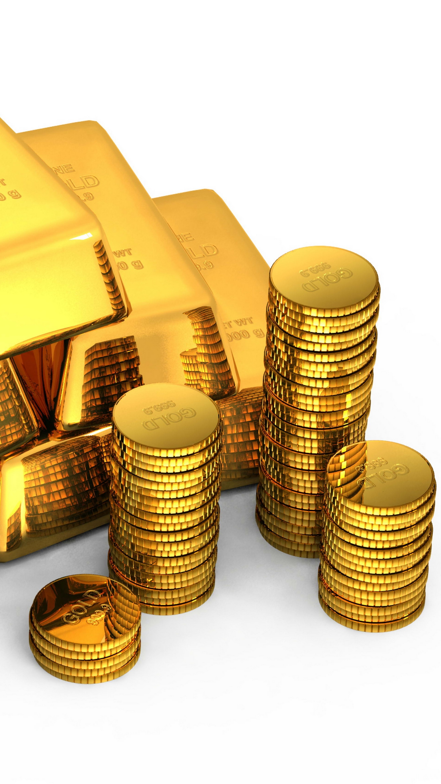 Wallpaper Gold Bullion Coins White Background Money   Gold And 1440x2560
