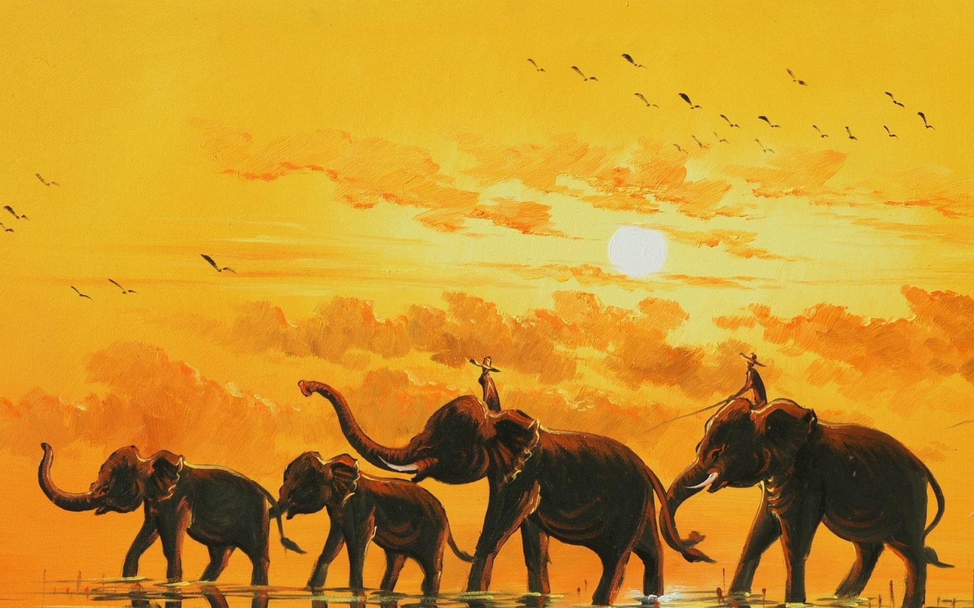 Download Art Paintings Elephant Artistic Wallpaper 1920x1200 Full HD 1920x1200