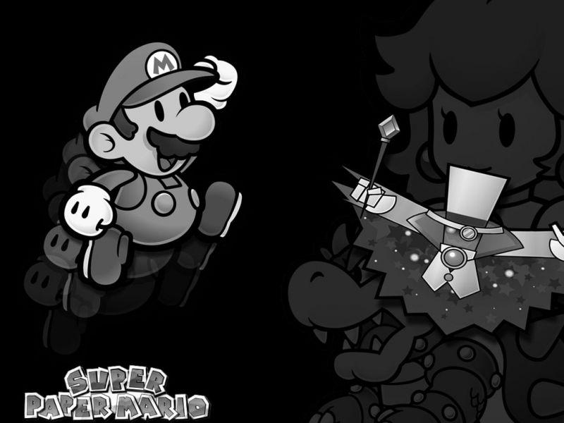 Super Paper Mario Black And White Wallpaper 800600   Super Mario 800x600