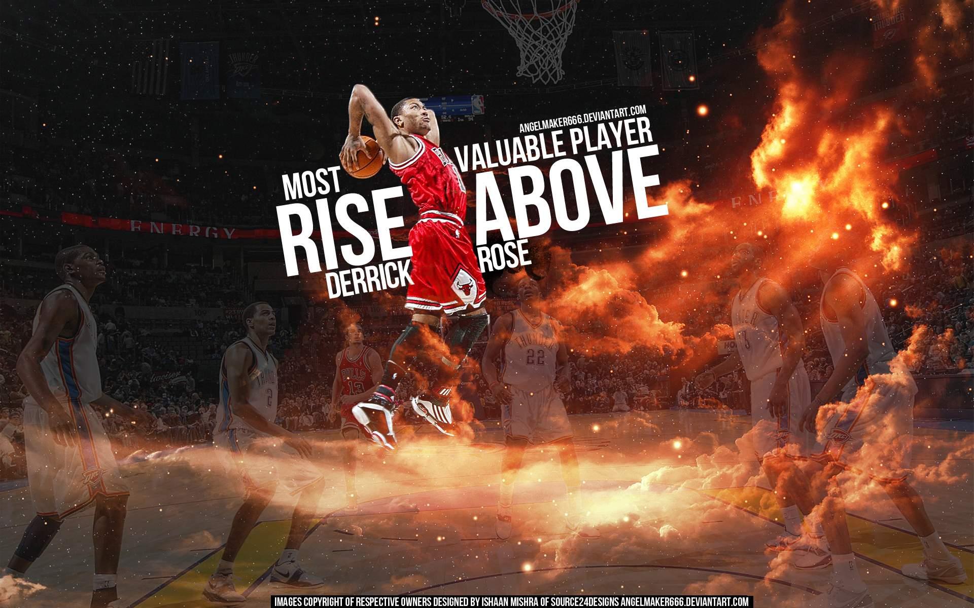 Derrick Rose 2011 MVP Dunk Widescreen Wallpaper Basketball 1920x1200