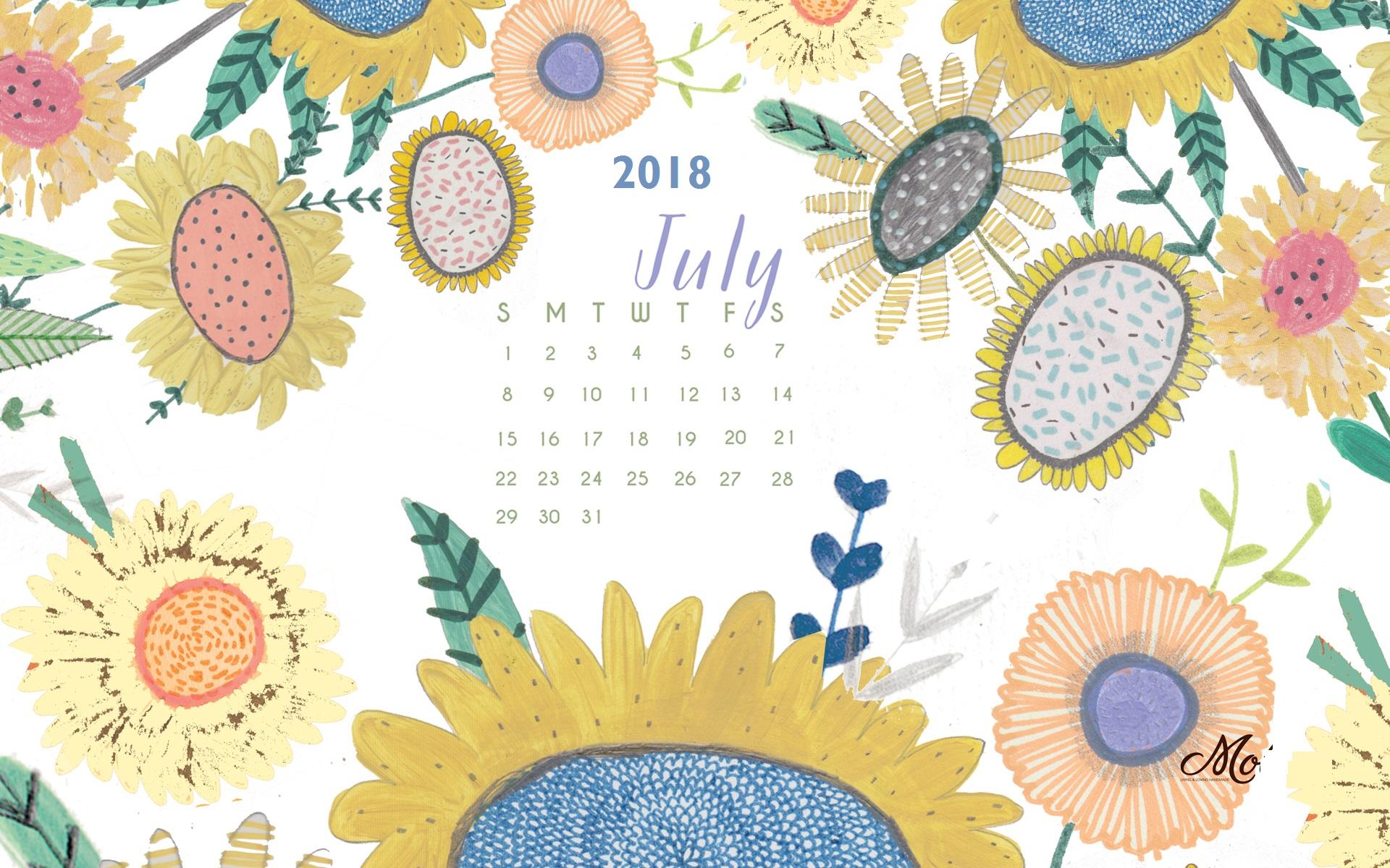 July 2018 HD Wallpaper Calendar Calendar 2019 1920x1200