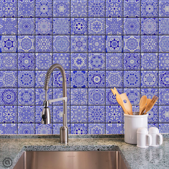 Removable Wallpaper  Cobalt Tiles   Peel Stick Self Adhesive Fabric 570x570
