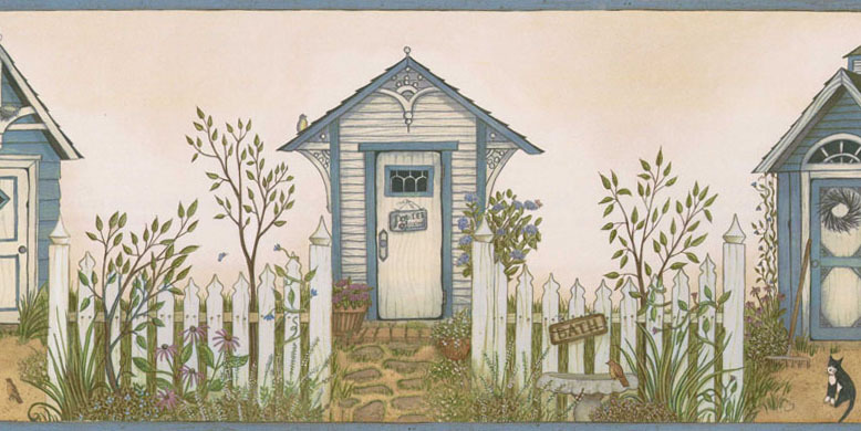 Cottage Outhouses Wallpaper Border   Rustic Country Primitive 778x390