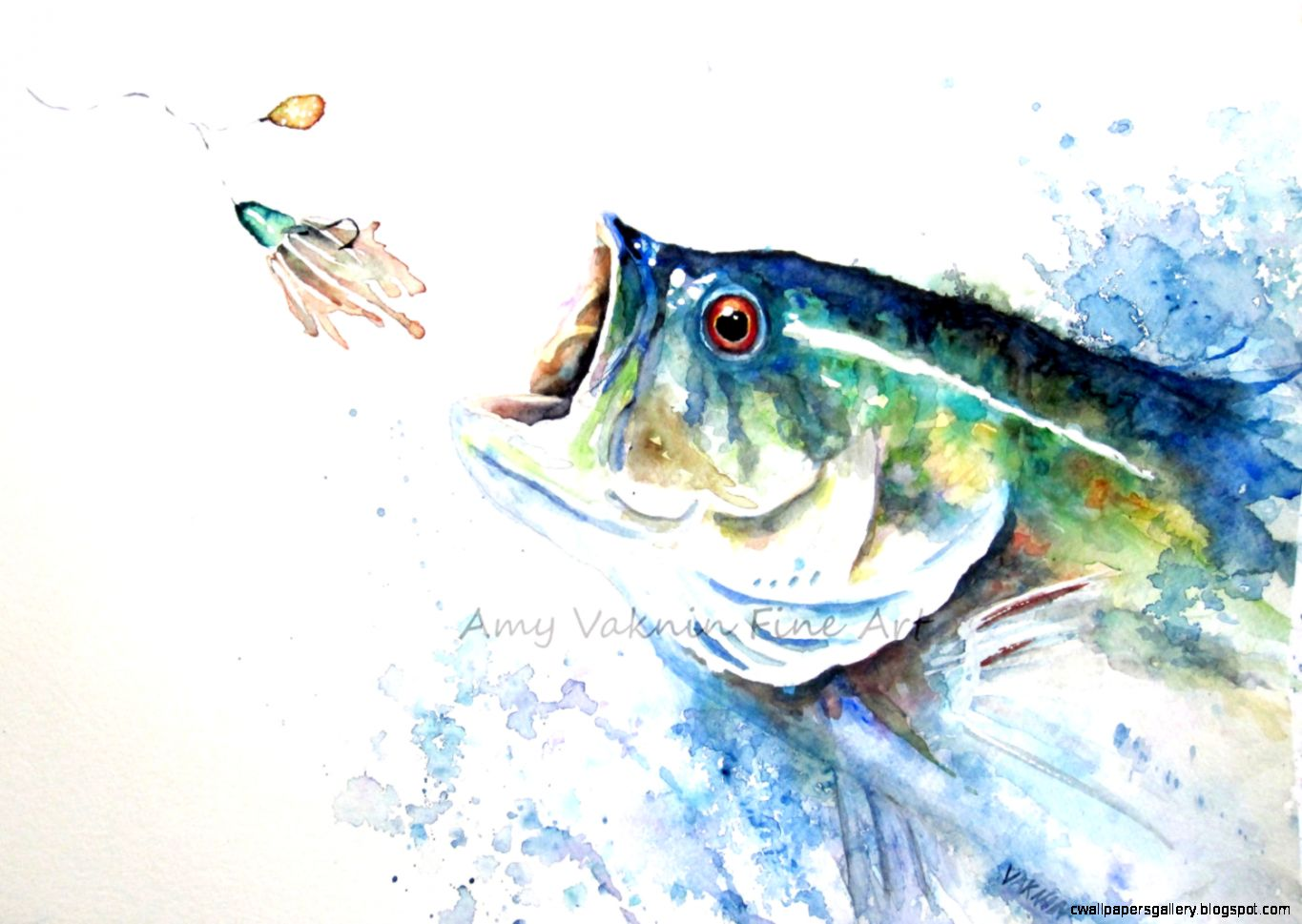 Largemouth Bass Jumping Painting Wallpapers Gallery 1365x969